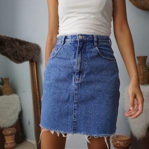 Vintage High Rise Denim Distressed Skirt